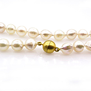 Classic Estate Vintage Cultured Japanese PEARL 7.75-8mm White Single Strand NECKLACE 18k Vermeil Gold Magnetic Clasp