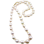 Classic Estate Vintage Cultured Japanese PEARL 7.5mm White Strand NECKLACE 14k Gold