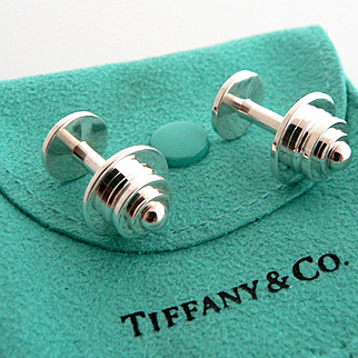 Authentic TIFFANY & Co Paloma Picasso Sterling Silver Tiered Pyramid Stud Cufflinks