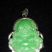 Emerald Chinese Green Jade 18KGP Buddha Pendant
