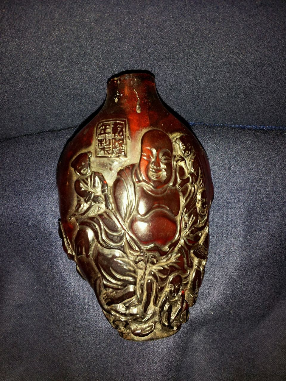 Chinese Large Old Handcrafted Amber Snuff Bottle