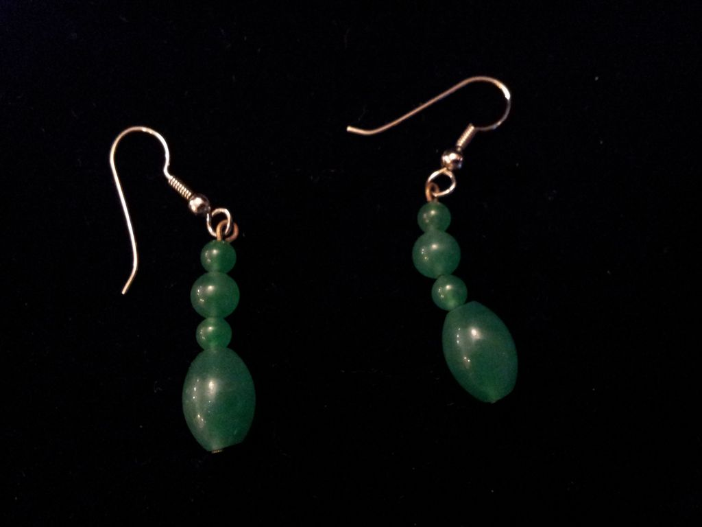 Vintage Chinese Green Peking Glass Sterling Sliver Earrings