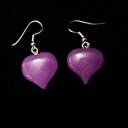 Vintage Chinese Lavender Jade Sterling Sliver Earrings