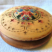 Vintage Old Folk Art Wood Hand Carved Box Pa Dutch Hex Embroidered Pin Cushion Sewing