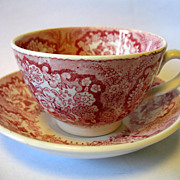 "Antique Societe Ceramique Maestricht Pink Red Transferware Child Cup & Saucer ""Oriental"""