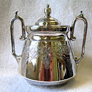 Victorian Era Meriden Britannia Silver Plate Sugar Bowl With Lid Ornate Engraved 117