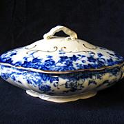 Antique Flow Blue Vermont Covered Vegetable Bowl Burgess & Leigh Burslem England