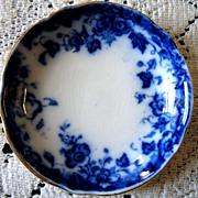 Antique Flow Blue Vermont Butter Pat  Burgess & Leigh Burslem England