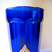 EAPG Northwood Glass Regent Cobalt Blue Tumbler Leafy Medallion