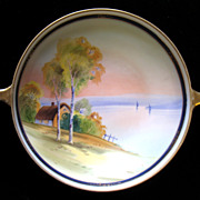 Noritake Nippon House Tree Lake Scene Hand Painted Bowl Handled
