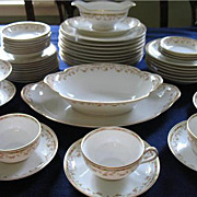 Haviland Limoges China Dinner Set 53 Pc Sch 346 Pink Roses Green Geometric Band - Red Tag Sale Item
