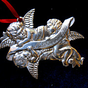 Reed & Barton Silver Christmas Ornament Millennium 2000 Cherubs Angels