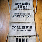 Vintage Canvas Newspaper Bag Paperboy Colliers Weekly Womans Home Companion Magazine