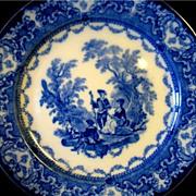 """Antique Flow Blue Watteau Doulton Dinner Plate 9 1/2"""" Burslem England"""