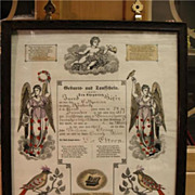 Folk Art Fraktur Birth Cert Hafer Osenbach 1873 Schuylkill County Brunswick  PA