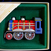 1984 Hallmark Tin Locomotive Train Toy Christmas Ornament In Box  # 3 In Series
