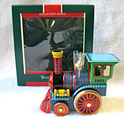 1989 Hallmark Tin Locomotive Train Toy Christmas Ornament In Box # 8 Final  In Series