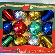 Vintage Christmas Boxed Set 12 Hard Plastic Ornaments Duraflectors Unbreakable