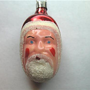 Small Vintage Glass Santa Claus Head Christmas Ornament Germany