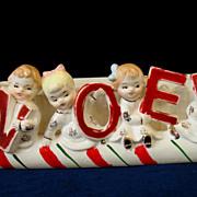 Vintage Napco Christmas Planter NOEL Candy Cane Kids Sleigh Boys & Girls