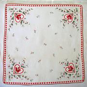 Vintage St. Valentines Day  Hearts Roses Handkerchief Hankie