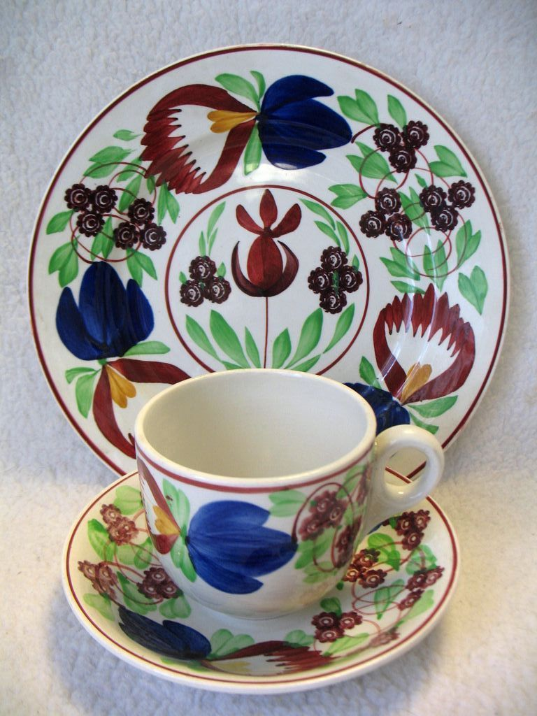 Gaudy Stick Spatter Plate Cup Saucer Set Villeroy Boch Germany 19th  Mighty Fine Finds | Ruby Lane & Gaudy Stick Spatter Plate Cup Saucer Set Villeroy Boch Germany 19th ...