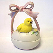 Vintage Lefton Easter Egg Chick Trinket Box  Japan Just Hatched Pink Ribbon