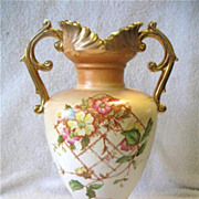 """Antique Empire Works Handled Vase 11"""" Stoke on Trent Rose Florals Peach Colors"""