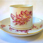 Herend Pink & Gold Floral Ashtray & Cigarette Holder Smoke Set