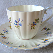 Royal Tuscan England Bone China Cup & Saucer Blue Bell Flowers Fluted D 2553