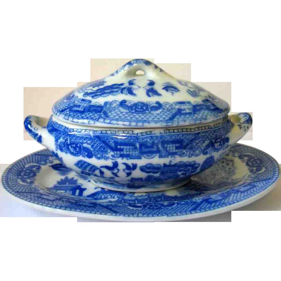 Vintage Blue Willow Japan Child Toy Casserole & Underplate Platter