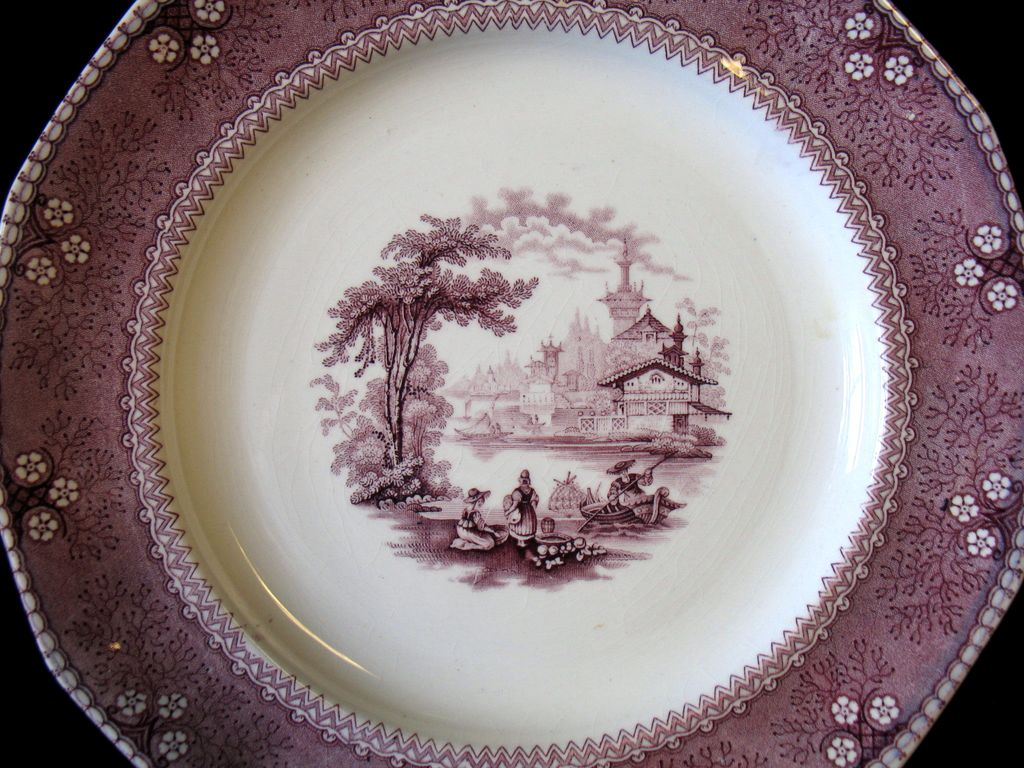 Antique c1840 Transferware Plate Ningpo Purple Mulberry Staffordshire