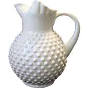 Large Fenton Hobnail Pitcher White Milk Glass Ice Lip 70 oz.
