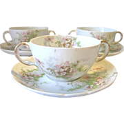3 Haviland Limoges Cream Soup Bouillon Cup & Saucer Sets F. Schultze Pink Floral