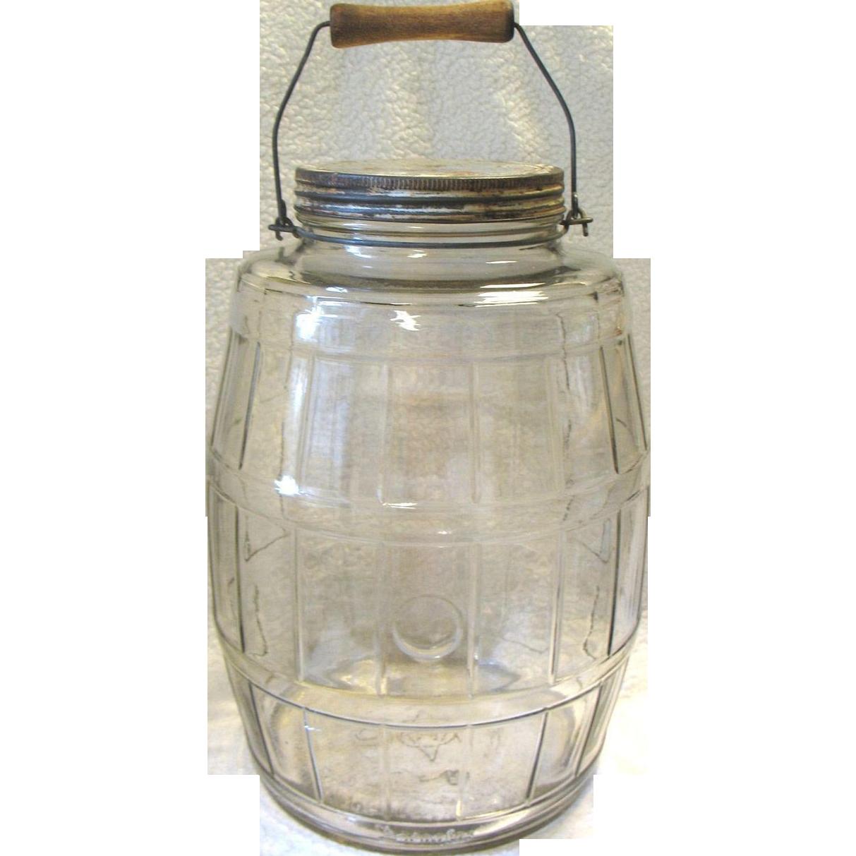 big vintage glass pickle barrel jar bale wood handle duraglas 2 12 sold ruby lane - Large Glass Jars With Lids