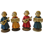 Vintage Set 4 Choir Angel Figurines Hard Plastic Hong Kong