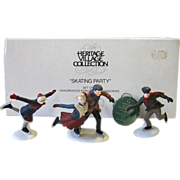 Dept Department 56 Heritage Village Skating Party Set of 3 Skater Figures