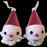 2 Vintage Holt Howard Christmas Ornaments Santa Claus Head Felt Cardboard