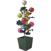 "Occupied Japan Christmas Tree Glass Balls Wood Pot 8""  Boxed"