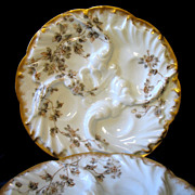 2 Antique CFH Haviland Limoges Wave Oyster Plates Schleiger 373 Small