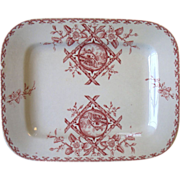 Antique Red Transferware Platter ALASKA Emberton Staffordshire