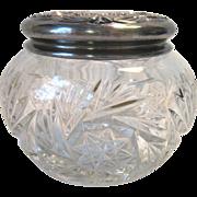 Antique EAPG Heisey Glass Powder Dresser Jar Silver Repousse Lid