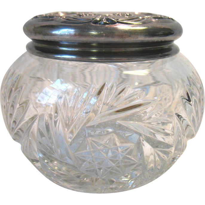 Antique Eapg Heisey Glass Powder Dresser Jar Silver