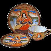 Vintage Satsuma Style Cup Saucer & Plate Set Moriage Japan Goddess Gold Gilt