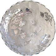 "Silver City Sterling Overlay 10"" Bowl Flanders Poppies 4 Toed Cambridge Caprice"