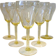 Set of 6 Vintage Etched Floral Cut Yellow Crystal Water Wine Goblets Glasses