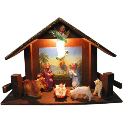 Vintage Christmas Wood & Celluloid Nativity Lighted  Manger Creche