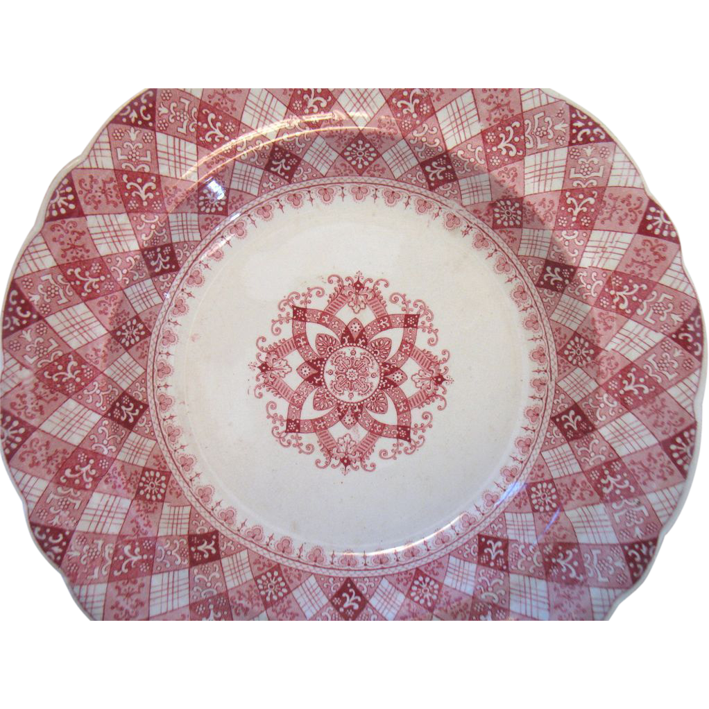 "c1840 Ridgway CALEDONIAN Red Transferware Soup Bowl 10 1/2""  Staffordshire RMW & Co."
