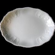 "Antique White Ironstone Platter Embossed Johnson Bros Royal Staffordshire 14"""