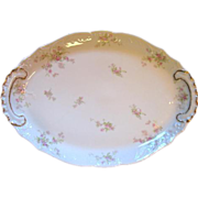 "Large 18"" Platter Haviland Limoges Pink Roses & Gold Louis XV"